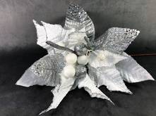 35CMD WHITE / SILVER SPIKY POINSETTIA