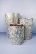 SET3 GOLD DISTRESSED LOOK METAL CYLINDER WITH TREE DESIGN