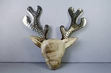 33CM DEER HEAD WITH METAL ANTLERS