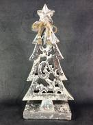 30CMH CARVED WOOD TREE WITH SILVER GILT COVERING