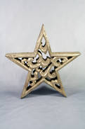 24CMD CARVED WOOD STAR WITH GOLD GILT COVERING