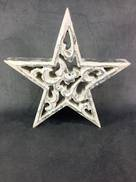 20CMD CARVED WOOD STAR WITH SILVER GILT COVERING
