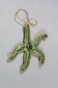 HAND EMBROIDERED GREEN STARFISH