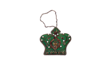 HAND EMROIDERED ANTIQUE GREEN CROWN