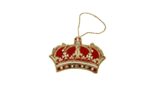 HAND EMROIDERED RED, GOLD, WHITE CROWN