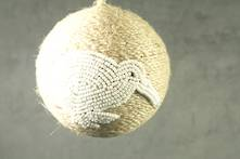 JUTE BALL WITH WHITE BEADED KIWI