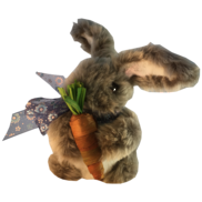 GREY FURRY BUNNY WITH CARROT