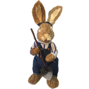 BOY STRAW BUNNY IN DENIM WITH SPADE