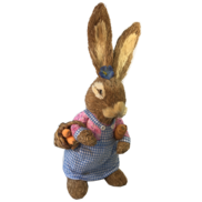 GIRL STRAW BUNNY IN PINK AND GINGHAM DRESS