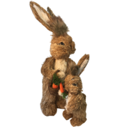 NATURAL STRAW BUNNY WITH BABY BUNNY AND CARROTS