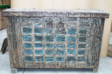 ANTIQUE BLUE WOODEN CHEST