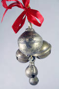 5X LARGE ANTIQUE SOLID BRASS BELLS ON VELVET RIBBON