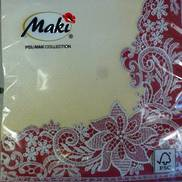 CREAM & BURGUNDY LACE EFFECT NAPKIN