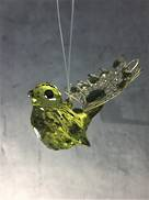 OLIVE/GOLD HANGING ACRYLIC BIRD