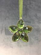 GREEN /GOLD JEWELED FLOWER (6)
