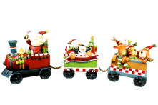RESIN CHRISTMAS SANTA TRAIN WITH 2 CARRIAGES