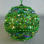 GREEN SEQUIN BEADED BALL HANGER