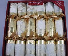 BOX 6, 30CM GOLD AND WHITE PATTERNED CRACKERS