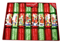 25CM BOX 8 RED GREEN SANTA CRACKERS
