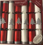 25CM BOX12 RED & WHITE WITH SILVER TREES CRACKERS