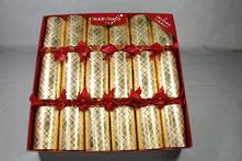 30CM BOX12 GOLD PAPER RED RIBBON CRACKERS
