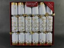 30CM, BOX 6 WHITE WITH GOLD MERRY XMAS CRACKERS