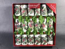 30CM, BOX 6 TRADITIONAL HOLLY GREEN BOW CRACKERS