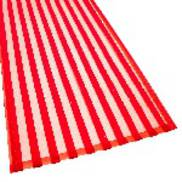 RED FLOCKED STRIPED ORGANZA TABLE RUNNER