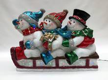 3 SNOWMEN SITTING ON A SLED LED