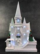 WHITE CHURCH LIGHTED HOUSE WITH LED AND ROTATING TREE