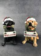 SET2, XMAS YELLOW AND BLACK  LAB PUPPY WELCOME SIGN LED