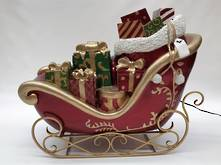 GIFT BAG AND BOXES ON SLEIGH WITH LIGHTS