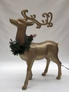 GOLD STANDING REINDEER WITH WREATH DECORATION AND LED LIGHT
