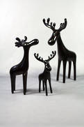SET3 SMALL GLOSS BLACK QUIRKY DEER