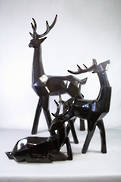 SET 3 LARGE GLOSS BLACK CUBIC DEER