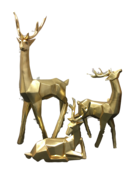 SET 3 LARGE GOLD CUBIC DEER