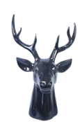 LARGE GLOSS BLACK DEER HEAD
