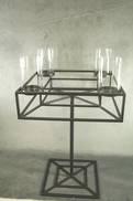 METAL SQUARE 4 CANDLE HOLDER ON STAND WITH GLASS