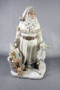WHITE POLYRESIN SANTA WITH DEER AND SACK