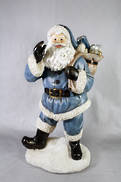 BLUE POLYRESIN SANTA AND SACK