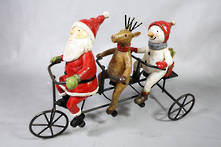 SANTA DEER SNOWMAN ON BIKE