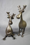 PAIR AGED BRONZE QUIRKY MOOSE