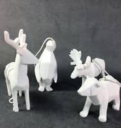 SET 4 WHITE ANIMAL ORIGAMI FIGURES