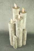 44.5CMH GREY RESIN LED CANDLE BLOCK