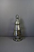 SMALL SILVER GLASS XMAS TREE
