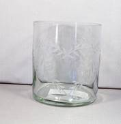 SMALL GLASS VASE WITH HEART ENGRAVING