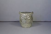 SMALL SILVER GLASS OWL TEALIGHT