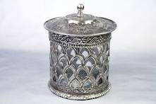 METAL AND GLASS LIDDED CANDLE HOLDER