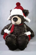 32CMH PLUSH SITTING BROWN BEAR WITH HAT AND MITTENS