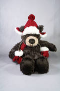 25CMH PLUSH SITTING BROWN BEAR WITH HAT AND MITTENS